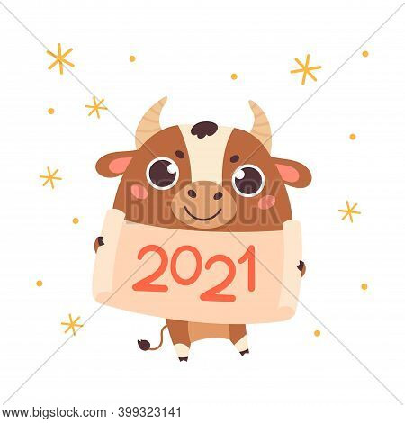 Happy Chinese New Year Greeting Card 2021.funny Animal In The Chinese Zodiac.ox Zodiac Symbol Of The