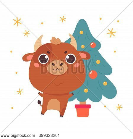 Cute Cartoon Bull With The Christmas Tree. Design For Greeting Cards, Stickers, Banners, Prints. Xma