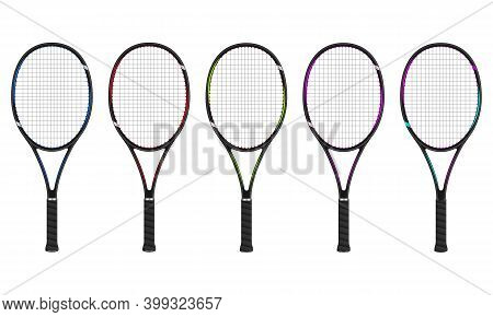 Tennis Racket Set Isolated On White, 3d Vector Illustration