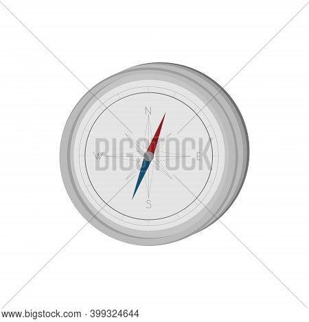 Compass, Orienteering Device, Gray Navigation Equipment, Direction Indicator Vector Illustration For