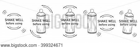 Shake Well Before Using Icon Set. Shaker Bottle Outline With Arrows And Text. Symbol For Packaging O