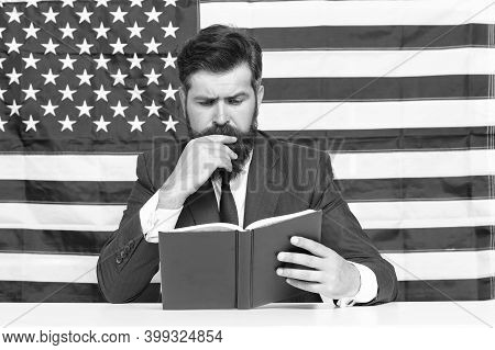 Read Explanation To Learn More. Teacher Read Book On Usa Flag Background. Teaching To Read. Literacy