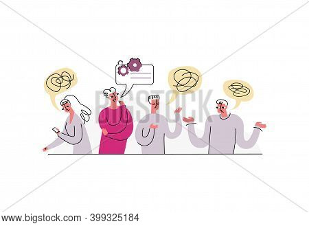 Vector Illustration With Concept Of Discussion, Problem Solving, Brainstorming. People And Colleague
