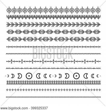 Black Ethnic Line Ornaments. Tribal Geometric Design, Aztec Style, Native Americans Texile. Vector E