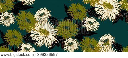 Trendy Seamless Pattern With Silhouettes Of Flowers Chrysanthemum In Full Bloom. Freehand Floral Orn