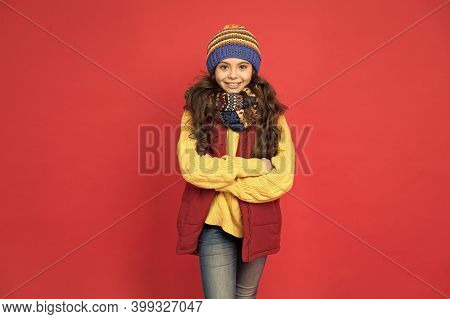 Cute And Stylish. Stylish Girl Red Background. Little Child With Stylish Look. Winter Style. Fashion