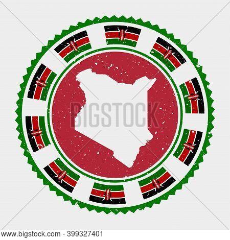 Kenya Grunge Stamp. Round Logo With Map And Flag Of Kenya. Country Stamp. Vector Illustration.