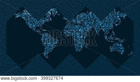 Global Network Concept. Healpix Projection. World Network. Astonishing Connections Map. Vector Illus