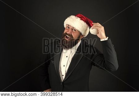 Insurance Services. Manager Celebrate New Year. Christmas Party. Bank Worker. Man Bearded Hipster We