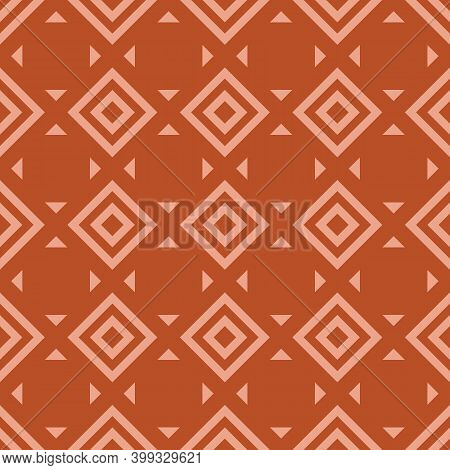 Vector Geometric Seamless Pattern With Rhombuses, Diamonds, Squares, Triangles, Tiles. Abstract Text