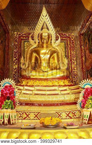 Golden Statue Of Sitting Buddha At Brahmavihara Arama Vihara Buddha Banjar, Buddhist Temple Monaster