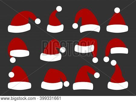 Red Christmas Santa Claus Hats Set. Flat Style Holiday Cap. Traditional Winter Accessory Of New Year