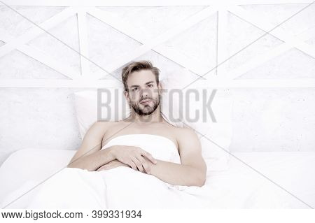Time To Rest. Morning Erection Concept. Asleep And Awake. Relaxing In Bedroom. Energy And Tiredness.