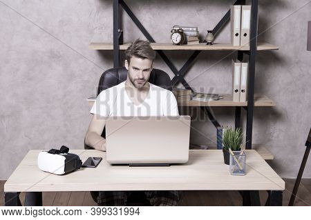 Future Is Now. Handsome Man Work On Laptop At Home. Guy Explore Vr Computer Technology. Vr Glasses.