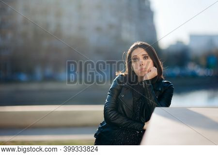 Sad Unhappy Urban Girl Feeling Bored And Disappointed