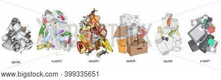 Sorted Garbage Set. Different Types Of Garbage Heap - Organic, Plastic, Metal, Paper, Glass, E-waste