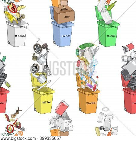 Seamless Pattern. Trash Cans With Sorted Garbage Set. Different Types Of Garbage - Organic, Plastic,