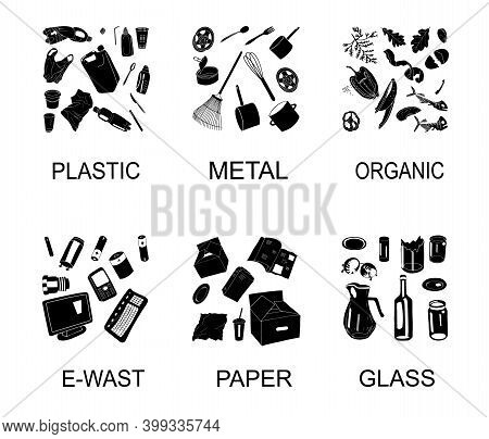 Trash Cans With Sorted Garbage Set. Different Types Of Garbage - Organic, Plastic, Metal, Paper, Gla