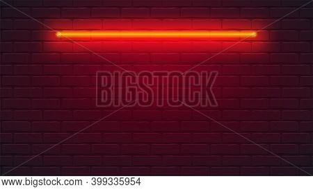 Brick Wall Is Lit By Neon Lamp. Neon Light On Brick Wall. Vector Template, 3d Illustration.