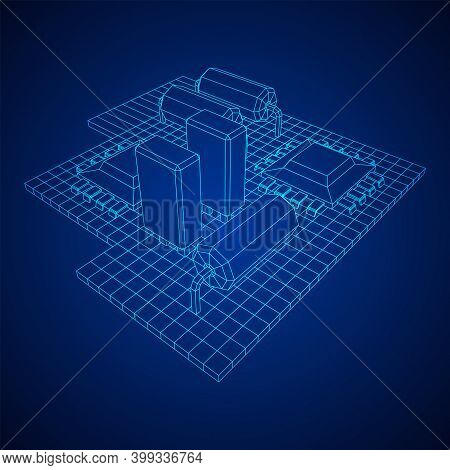 Circuit Board. Electronic Computer Components Motherboard. Semiconductor Microchip, Diode. Hardware