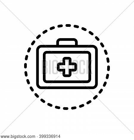Black Line Icon For Treatment Remedy Medical Medication First-aid-kit Safety Emergency-box Medicine