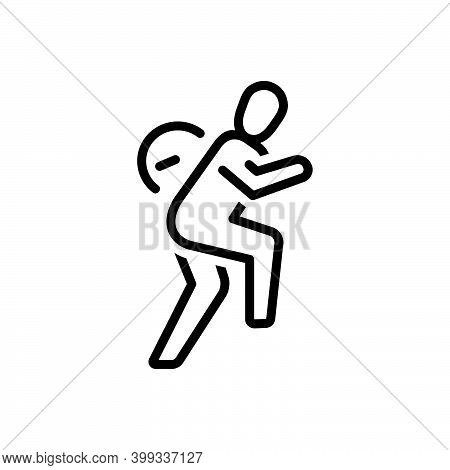 Black Line Icon For Slowly Slow Calmly Hurry Walk Run People Sneaking Apprehensive Motion