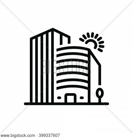 Black Line Icon For Company Corporate Office Building Business Association Architecture Apartment Re