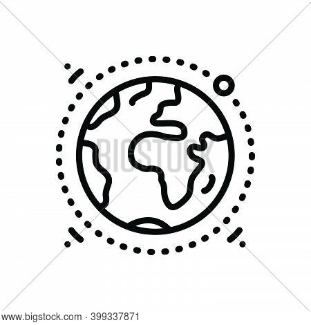 Black Line Icon For Geography Terra Earth Globe Ecology Discovery Environment