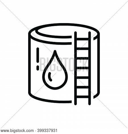 Black Line Icon For Reservoir Cistern Storage Water-reservoir Container Supply Refinery
