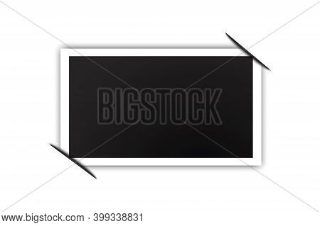 Black Photo With Tucked Corners. The Photo.vintage Design Template. Blank Template. Stock Image.
