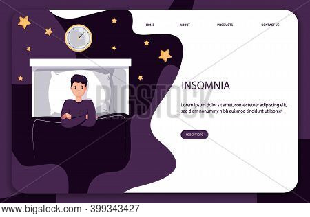 Male insomniac lying in bed at night. Tired man suffer from sleeping disorder, insomnia, nightmare, sleeplessness.Tips and rule for bedtime sleep against insomnia