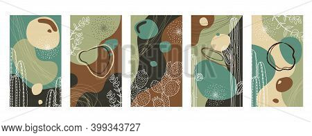 Vector Set Of Abstract Hand Painted Backgrounds For Social Media Stories Design, Wall Decoration Pat