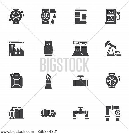 Oil Industry Vector Icons Set, Modern Solid Symbol Collection, Filled Style Pictogram Pack. Signs, L
