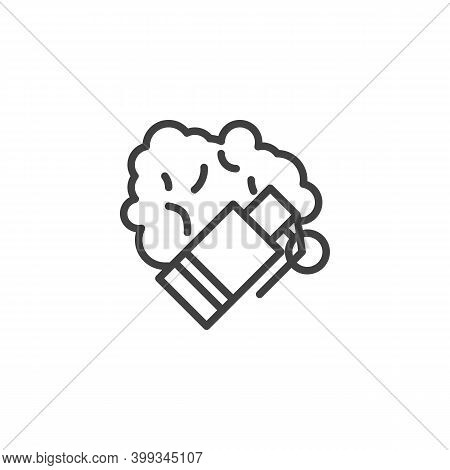 Tear Gas Bomb Line Icon. Linear Style Sign For Mobile Concept And Web Design. Anti Protest Smoke Bom