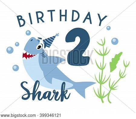 Baby Shark Birthday Party Clipart - The Second 2nd Baby Birthday, Nursery Cartoon Cute Nautical Illu