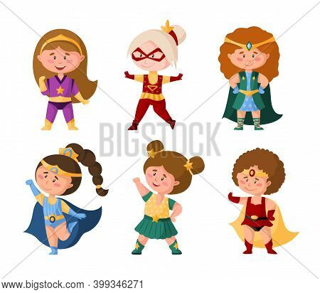 Superhero Cartoon Girls In Super Costumes, Cute Female Characters Isolated Vector Clipart On White B
