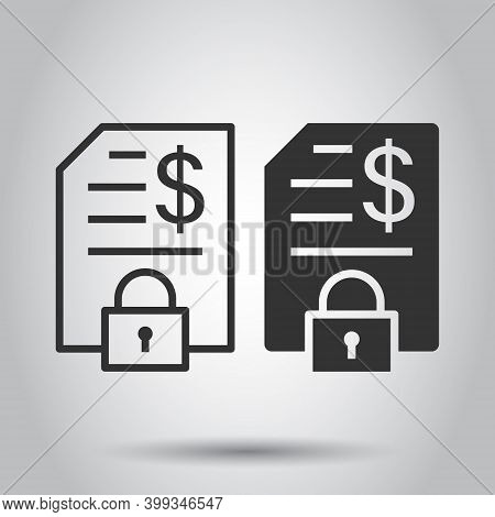 Financial Statement Icon In Flat Style. Document With Lock Vector Illustration On White Isolated Bac
