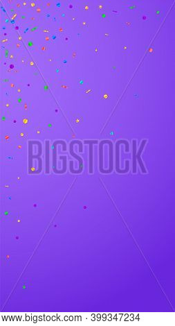 Festive Stylish Confetti. Celebration Stars. Festive Confetti On Violet Background. Fine Festive Ove