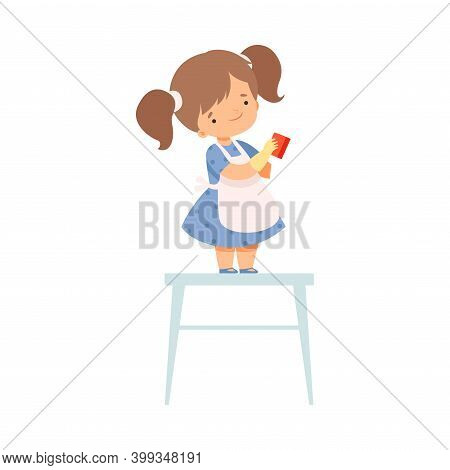 Cute Little Girl In Apron Standing On Chair With Rag Helping To Clean House Cartoon Style Vector Ill