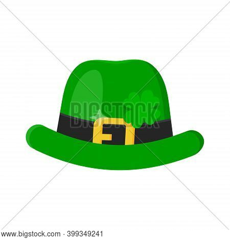 Saint Patrick Day Leprechaun Green Hat With Shamrock Clover Four Leaf Lucky Icon Flat Style Design V