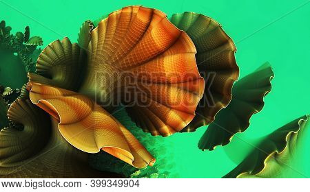Abstract background, fantastic 3D shapes, underwater fictional render illustration.