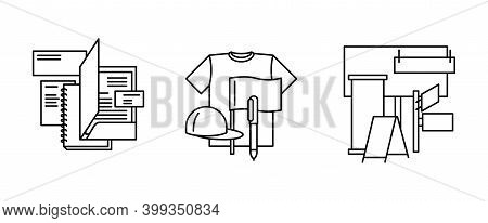 Print House Print Publishing Categories Of Polygraphic Production Icons Set - Stationery, Merchandis