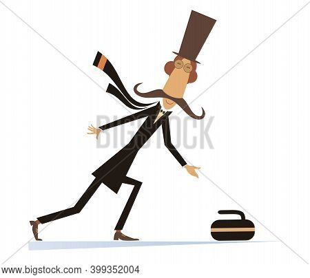 Mustache Man In The Top Hat Plays Curling Isolated Illustration. Mustache Gentleman In The Top Hat P