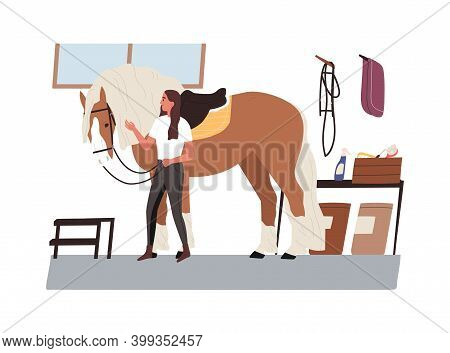 Young Horsewoman Taking Care Of Domestic Animal. Jockey With Purebred Horse At Stable. Equestrienne