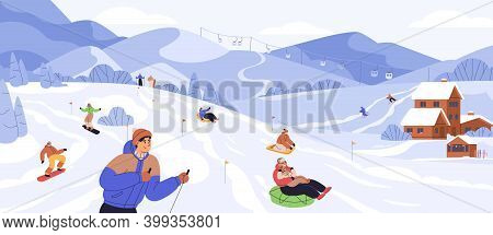 People Snowboarding And Riding Tubing At Ski Resort. Skiers And Snowboarders Rolling From Snowy Moun