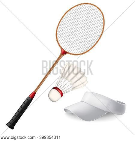 Realistic Detailed 3d Different Badminton Elements Set Include Of Shuttlecock, Racket And White Cap.