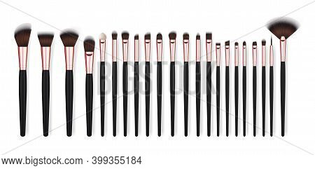 Realistic Detailed 3d Different Makeup Brush Set For Eyeshadow, Blush And Concealer. Vector Illustra