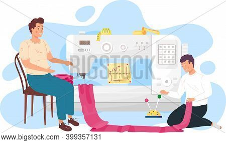 The Guy Is Holding A Piece Of Cloth In His Hands. Seamstresses Work With Big Sewing Machine. Designe