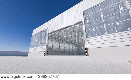 3d Rendering Of Hangar Building Exterior And Open Shutter Door And Paver Brick Floor.
