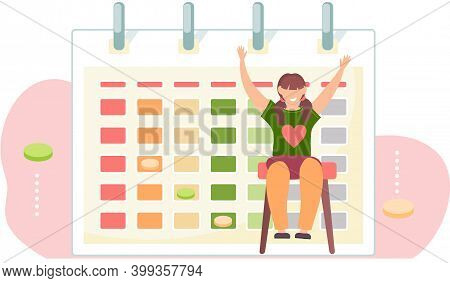 Happy Girl Sitting On A Chair And Raising Her Hands Up. Adolescent And A Logic Game Calendar. Timeta
